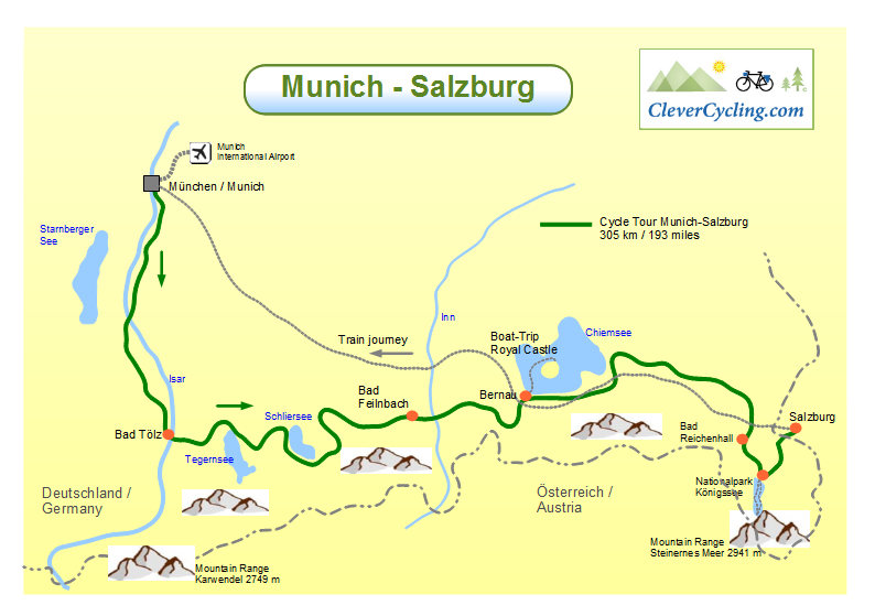 Clever Cycling In Germany Cycletour Munich Salzburg - Germany map salzburg