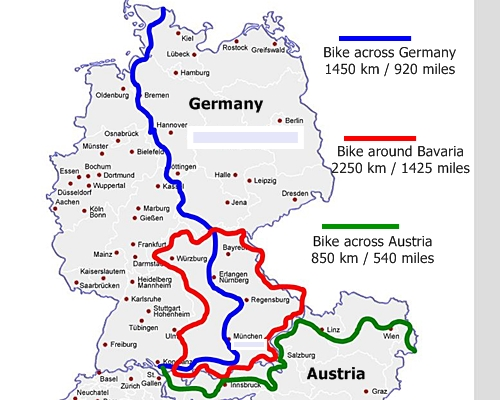 Clevercycling Long Distance Tours – Germany Map Distances